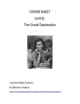 US History: The Great Depression Common Core Unit Guide