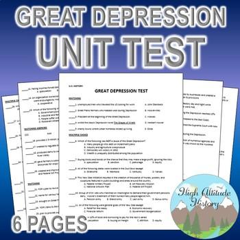 Great Depression Unit Test / Exam / Assessment (U.S. History)