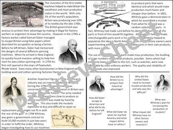 U.S. History - The North - Samuel Slater & Eli Whitney