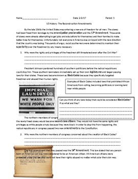 US History: The Reconstruction Amendments