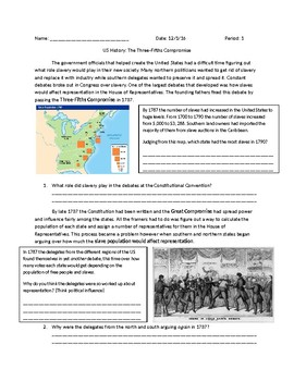 US History: The Three-Fifths Compromise