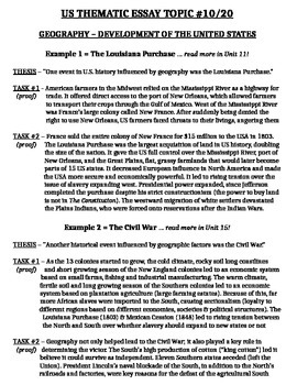 US History - Thematic Essay Topic 10/20 Body Outline Example