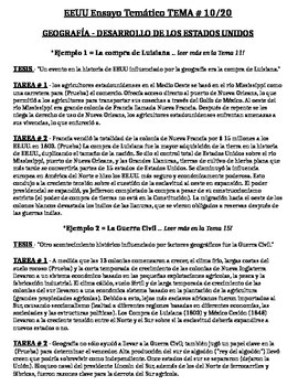 US History - Thematic Essay Topic 10/20 Body Outline Example - SPANISH