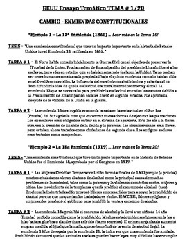 US History - Thematic Essay Topic 1/20 Body Outline Example - SPANISH
