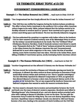 US History - Thematic Essay Topic 13/20 Body Outline Example