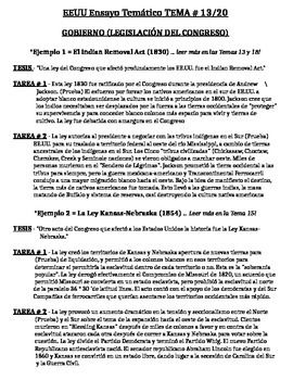 US History - Thematic Essay Topic 13/20 Body Outline Example - SPANISH
