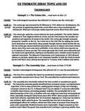 US History - Thematic Essay Topic 20/20 Body Outline Example