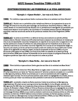US History - Thematic Essay Topic 8/20 Body Outline Example - SPANISH