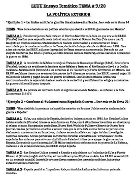 US History - Thematic Essay Topic 9/20 Body Outline Example - SPANISH