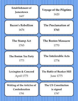 Timeline Flashcards: Early US History