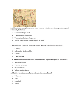 US History Unit 2 Test-Industrialization and Progressivism
