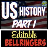 US History Unit Bellringers Bundle | 11 Bellringer Sets fo