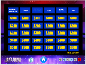 US History - Vietnam through 2000s  unit Jeopardy Review Game