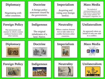 US History Vocabulary Cards Bundle