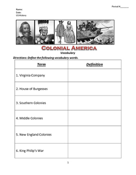 US History Colonial America Vocabulary