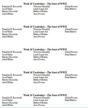 US History Vocabulary Football League