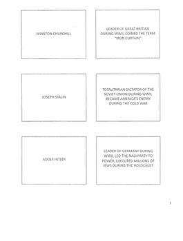 US History WW2, Cold War.  Flash Cards. 13 pages .pdf