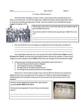 US History: WWI for America