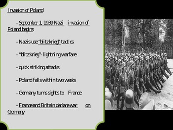US History WWII Moving Closer to War.... Nazis take over Europe