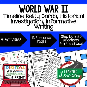 US History WWII Timeline Relay & Writing Prompt Activity with Google Drive Link