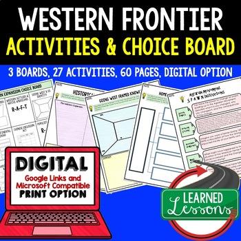 US History Western Expansion Activities, Choice Board, Print & Digital, Google