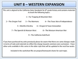 U.S. History - Western Expansion Unit - Oregon Trail to the Mexican-American War
