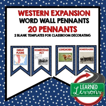 US History Western Frontier Word Wall Pennants (20 Words)