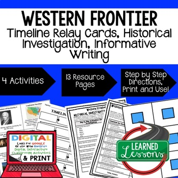 US History Western Frontier Timeline & Writing Prompt (Pap