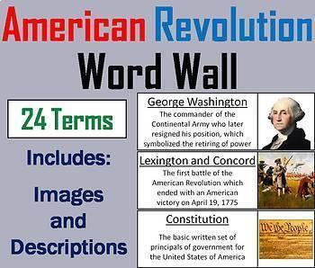 US History Word Wall Bundle: American Revolution, Civil War, World War 1-2, etc.