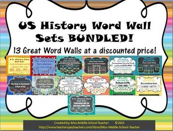 US History Word Wall Sets BUNDLED!