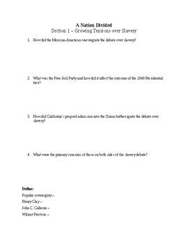 Us History Worksheet A Nation Divided Chapter 14 By Toren Ballard