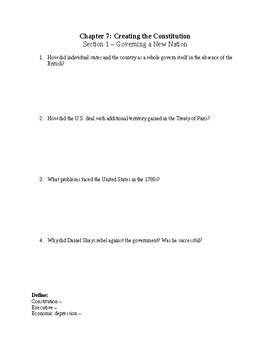 US History Worksheet: Creating the Constitution (Chapter 7)