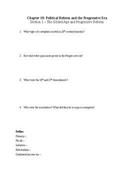 US History Worksheet: Political Reform and the Progressive Era (Chapter 19)