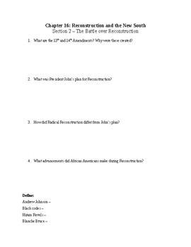 US History Worksheet: Reconstruction (Chapter 16)