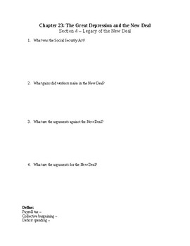 US History Worksheet: The Great Depression and New Deal (Chapter 23)