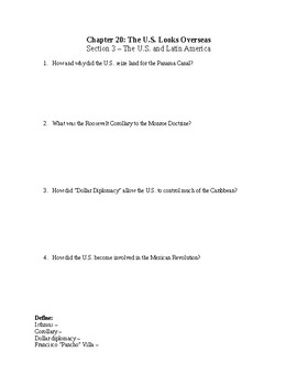 US History Worksheet: The United States Looks Overseas (Chapter 20)