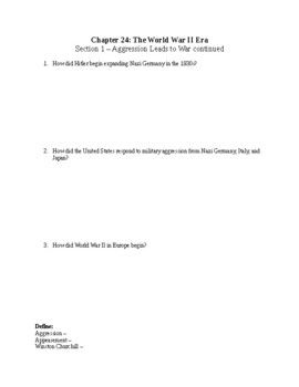 US History Worksheet: The World War II Era (Chapter 24)
