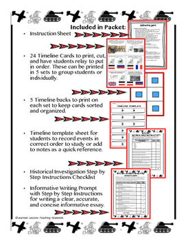 US History World War I Timeline Relay & Writing with Google Drive Link
