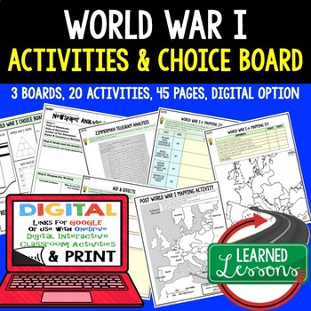 World War I (WWI) Activities with Choice Board &  Google Link  (US History)