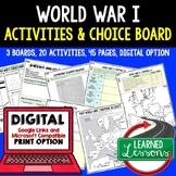 World War I (WWI) Activities, Choice Board, Print & Digita
