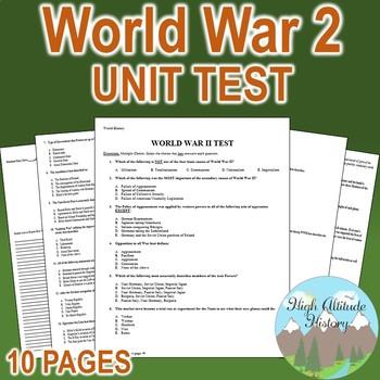 World War II (WW2) Unit Test / Exam / Assessment
