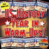 US History Year in Warm-Ups Skill Based, Mini Lessons, Bell Ringers Bundle