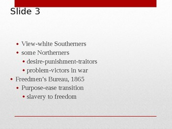 US History from 1865/1877, powerpoint lecture,ch.15, Reconstruction