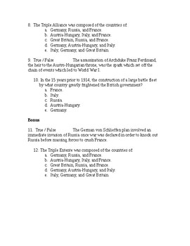 US History from 1865/1877, quiz, World War I