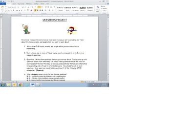 US History or World History Questions Project
