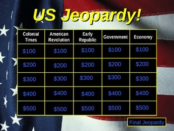 US Jeopardy US History 6-8 Grade Part 1