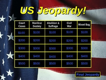 US Jeopardy US History 6-8 Grade Part 2