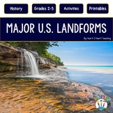 U.S. Landforms with 8 Major Landforms Highlighted