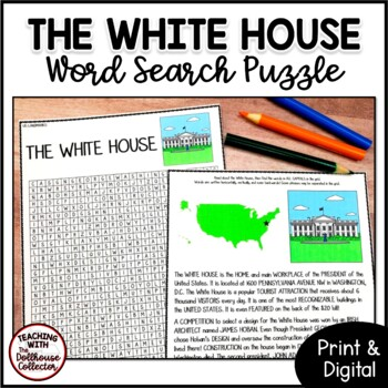 US Landmarks Word Search Puzzle - THE WHITE HOUSE