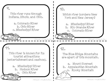US Major Mountains and Rivers Task Cards